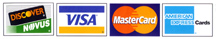 We accept Visa, Mastercard, Discover, & American Express